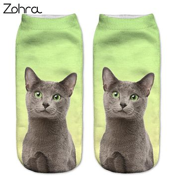 Zohra New style Cats 3D Printing Sock Women Unisex Cat Low Cut Ankle Socks Cotton Hosiery Printed Casual Socks