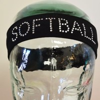 SOFTBALL Headband Funny Girl Designs Rhinestone Cotton Stretch Headband (Navy Blue)