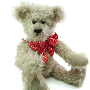 """Adorable Vintage Light Grey Tan Teddy Bear Curly Mohair 15"""" Inches Tall Glass Eyes Fully Jointed Teddy Bear Love Holiday Baby Gift Toy OOA"""