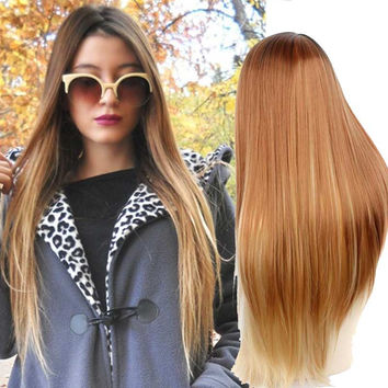 Synthetic Wigs Blonde Ombre Wig Kylie Jenner Hair Style Long Straight Wig for Black Women Female Hair Cheap Wigs