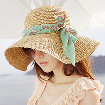 Korean Hats Summer Handcrafts Beach Travel Crochet [10136604423]