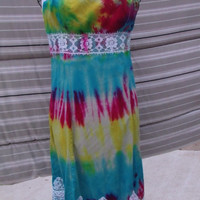 Upcycled Tie Dyed Strapless Dress-Size 7 #tidye #lace #dress