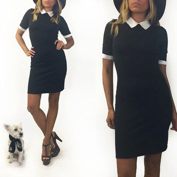 Vintage 1980s BLACK & WHITE Mod Peter Pan Collar Wednesday Addams Gothic Lolita Costume Dress || Size XS to S