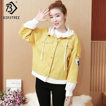 Spring Autumn Denim Jacket Long Women  Appliques Denim Female Hoody Jacket Fake Two Pieces of Jackets Women White Yellow C83202A