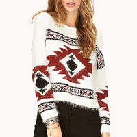 FOREVER 21 Easy Traveler Shag Sweater Cream/Rust