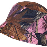 Tropic Hats Lightweight Hardwoods Camouflage Summer Floppy Bucket Hat (One Size) - Pink Camo