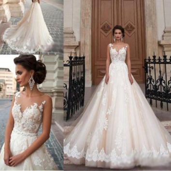 Illusion Back Embroidery Wedding Dresses New Lace Appliques Ball Gown Beaded Princess Wedding Dress