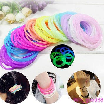10pcs Colorful Luminous Neon Silicone Fragrance Rubber Wristband Cuff Bracelet Decor Hair Band Style Head Accessories