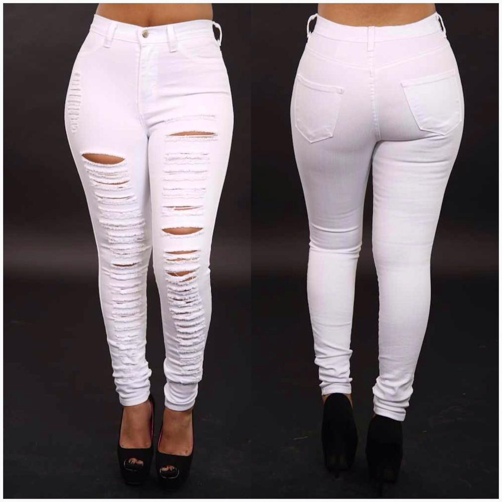 High Waisted Destroyed White Jeans From Kirastylez Com Crop