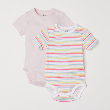 2-pack Short-sleeved Bodysuits - Light pink/multistriped - Kids | H&M US
