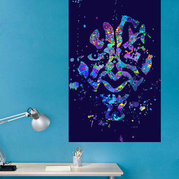 kcik1724 Full Color Wall decal poster space Watercolor paint splashes Darth Maul Star Wars children's bedroom Living