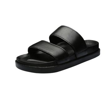 Sunbona Summer Couple Fashion Solid Anti-Slip Casual House Sandals Open Toe Slipper Shoes Indoor &Outdoor For Men And Women (Women Size:39(US:7-7.5), Black)