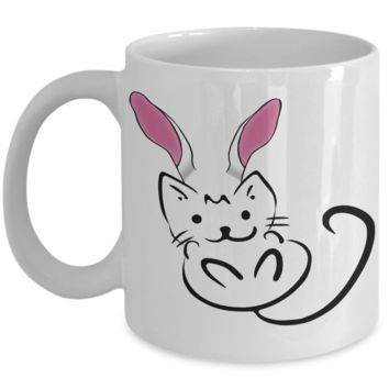 Persian Cat Coffee Bunny Ear Mug Cat Mug White Kitten Coffee Tea Cocoa Cup For Cat Lady Unique Cups For Kitty Lovers Kitties Easter Bunny Egg Hunt Jar Personalized Rabbit Mugs