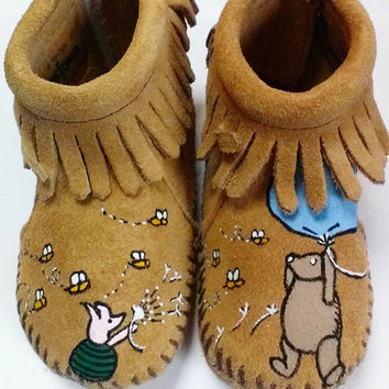9a848a36e378 Custom Hand Painted Classic Winnie the Pooh Baby Moccasins