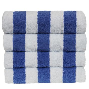 Luxury Hotel & Spa Towel 100% Cotton Pool Beach Towels - Cabana - Blue - Set of 4
