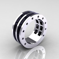 Mens Modern 14K White Gold Baguette Black Diamond Channel Cluster Star Infinity Wedding Ring R784-14KWGBD