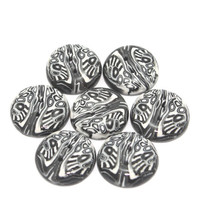 Polymer clay buttons, handmade buttons in Black, White and Greys, dots and stripes unique pattern, set of 7 buttons