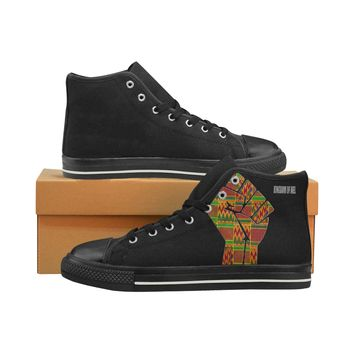 Raised Fist Women's Classic High Top Canvas Shoes (Model 017)