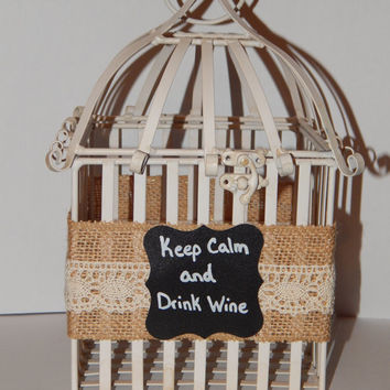 Wine Cork Holder - Birdcage Decor - Rustic Wine Decor - Wine Gift