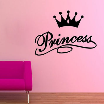 Girl Wall Decals Princess Wall Words Princess Crown Vinyl Sticker Kids Girl Room Decor Home Decor Vinyl Art Girl Nursery Room Decor KG266