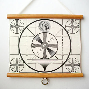 "Mini Printed Fabric Vintage Style School Chart with Wood Trim - T.V. Test Pattern (11"" x 9"")"