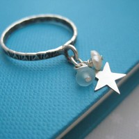 Sterling Silver Star Charm Ring - M.. on Luulla