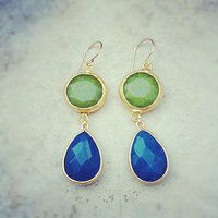 summer fashion long  DUAL apple olive green jade stone cobalt blue drop earrings textured matte golden frame gemstone earrings Israel