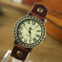 Vintage Brown Leather Travelling Roman Watch