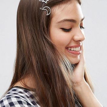ASOS Pack of 2 Moon & Star Hair Clips at asos.com