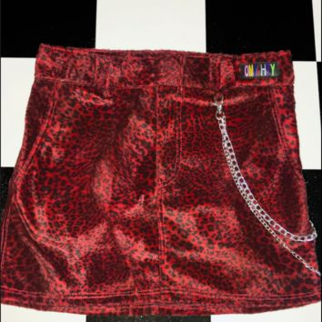 SWEET LORD O'MIGHTY! RED LEOPARD CHAIN SKIRT