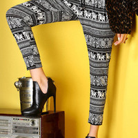 Black Printed Vintage Harem Pants