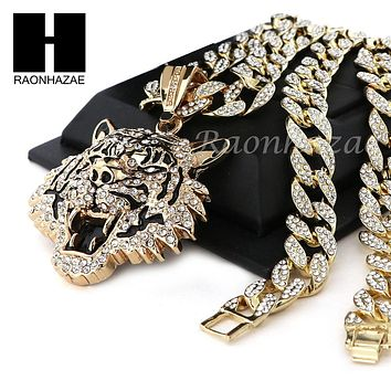 "Mens 14k Plated DRAKE TIGER Pendant w/ 30"" Iced Out Cuban Link Chain NN032G"