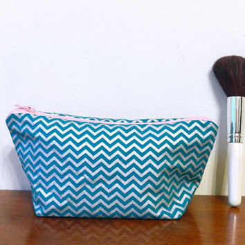Dark Teal and Shiny Silver Chevron Small Travel Makeup/Cosmetics/Toiletries/Vape Pen Bag/Pouch/Holder with Baby Pink Zipper