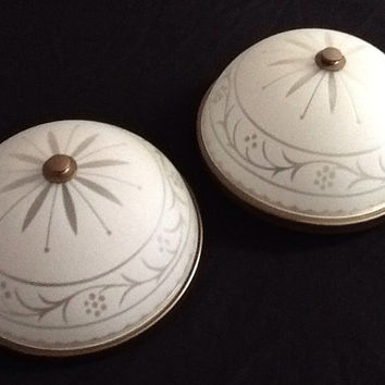 Vintage Art Deco Ceiling Mount Light Fixture Pair Frosted and Etched Glass