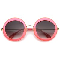 Womens Round Sunglasses With UV400 Protected Gradient Lens