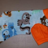 I woof the great outdoors dog pajama. Size medium. Machine washable. Open underneath for potty and #2 breaks