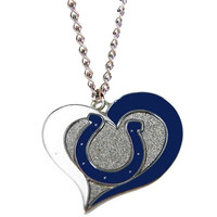 Indianapolis Colts Swirl Heart Necklace