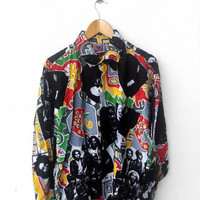 CLEARANCE SALE 25% Rare Vintage BOB Marley 80's One Love No Women No Cry Reggae Ska Pop Art Buttondown Shirt