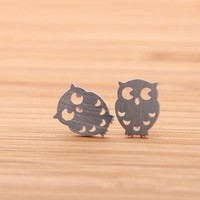 OWL stud earrings in silver by bythecoco on Zibbet