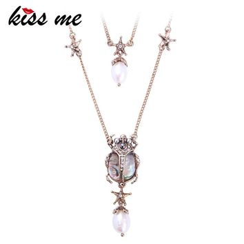 KISS ME Crystal Resin Cultured Pearl Beetle Insect Pendant Necklace Double Layers Necklaces for Women Brand Jewelry