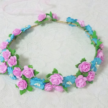 Colorful rose crown Pink baby blue small rose flower headband /Rustic crown /Flower headpiece /Flower hair wreath party flower