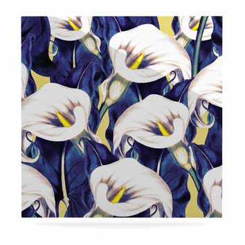 """mmartabc """"Pattern Calla Lily Flower"""" Blue Yellow Floral Vintage Illustration Digital Luxe Square Panel"""