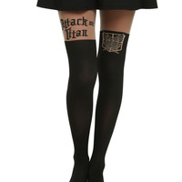 Attack On Titan Logo Shield Faux Thigh High Tights