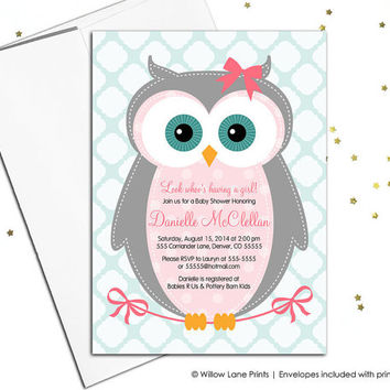Owl baby shower invitation, girls baby shower invite, pink and gray, printable digital invitation for girls or printed - WLP00784