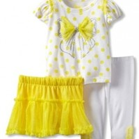 Young Hearts Baby Girls' 3 Piece Shirt With Skirt And Pant, Yellow, 18 Months