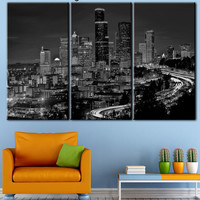 Istanbul Canvas, night landscape, night Istanbul, black and white art, skyscrapers Istanbul, City landscape, city picture, city art
