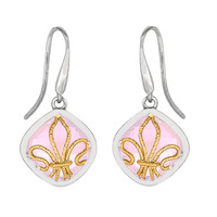Pink Amethysts Drop Earrings In Rhodium Finished Sterling Silver With A 18K Gold Fleur De Lis Overlay
