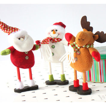 Christmas Decoration Fabric Doll Gifts Deer,Santa,Snowman Pattern Christmas (Size: 20CM) [9431945348]