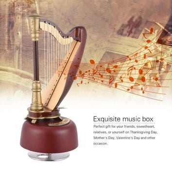 Classical Wind Up Harp Music Box with Rotating Musical Base Instrument Miniature Replica Artware Gift