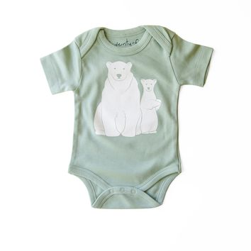 Polar Bears Organic Gender Neutral Baby Bodysuit in Mint